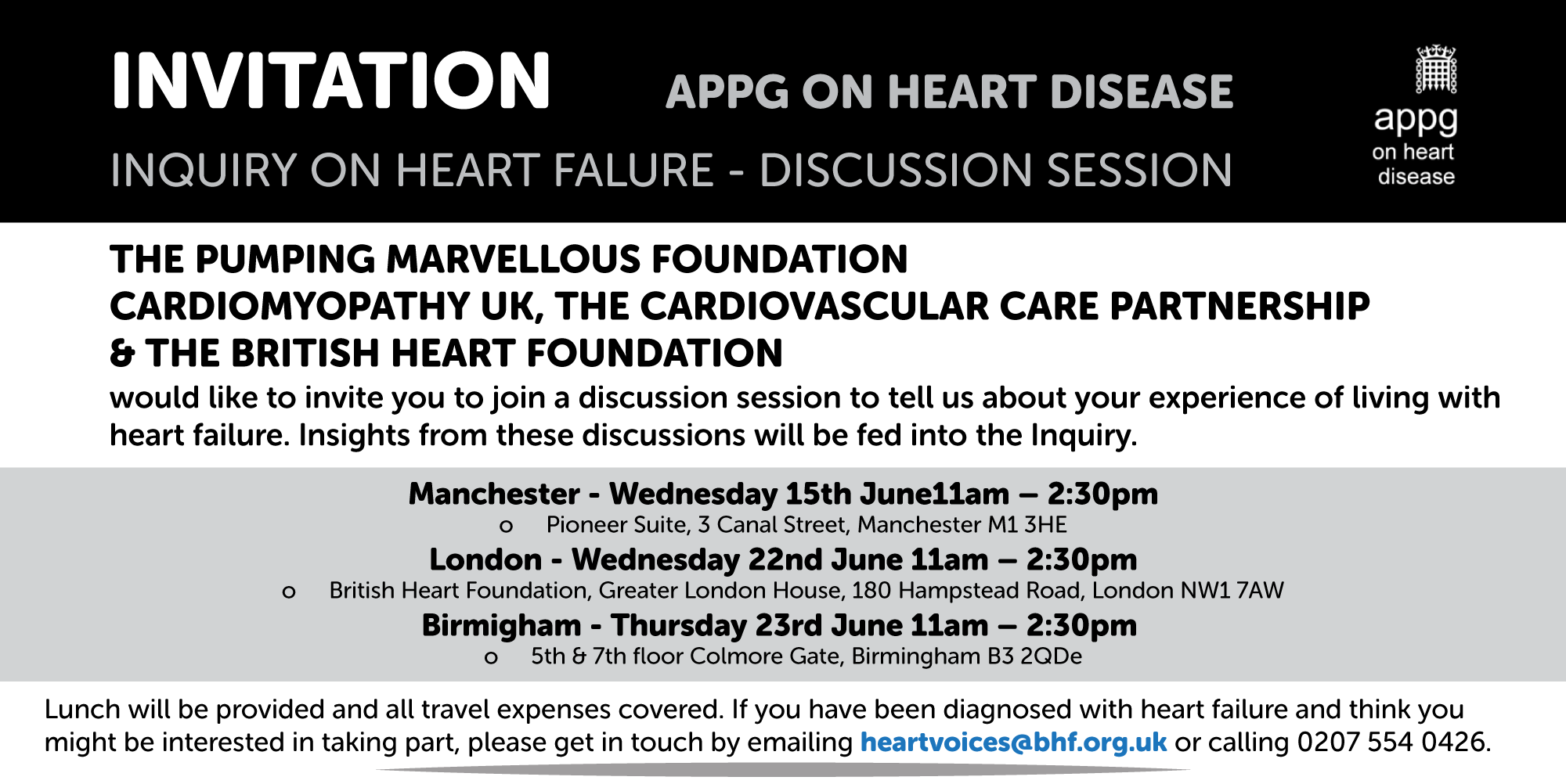 Parliamentary Heart Failure Inquiry Discussion Sessions
