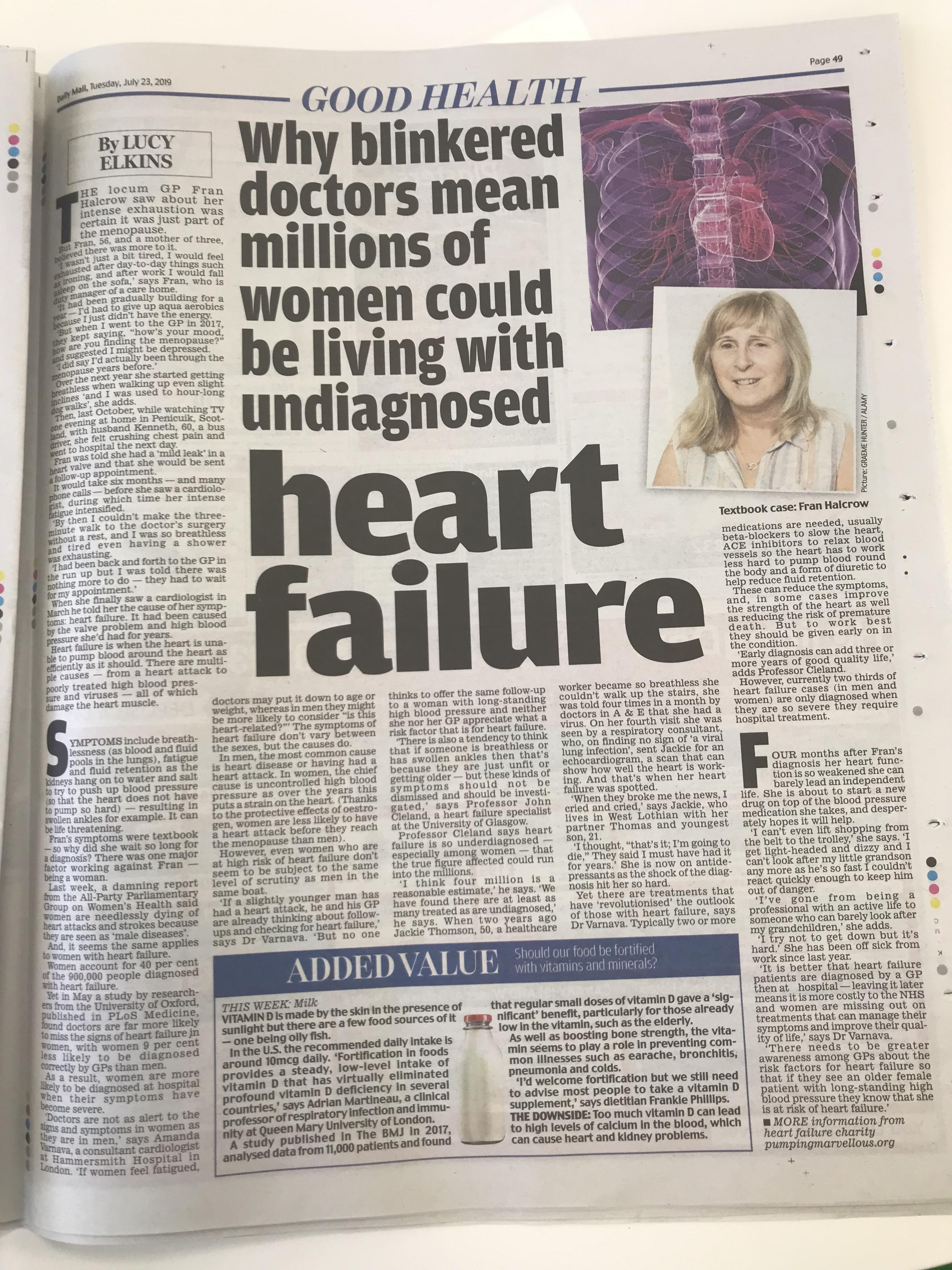 Heart failure missed symptoms